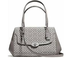 Womens Coach Madison Coach Madison Medium Madeline Op Art Needlepoint East  West Satchel - Silver Grey - QuiBids.