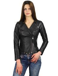leather biker jacket with double zip las black versano