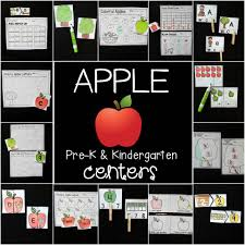 apple centers for pre k and kindergarten