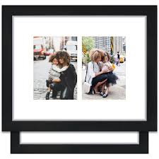 craig frames 11x14 black picture frame single white collage mat with two 5x7 openings set of 2 com