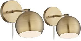 Brass Light Selena Wall Lights Led Plug In Set Of 2 Brass Sphere Shade Pin Up For Bedroom Living Room Reading 360 Lighting