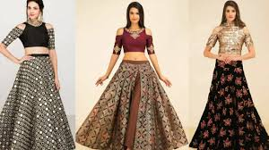 Designer Crop Top And Skirt Latest Trendy Designer Crop Top With Long Skirt 2017 2018 Women Lahenga With Crop Top Trendy India1