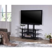 wide glass tv stand with mount