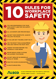 workplace safety posters alsco 10 rules for workplace safety