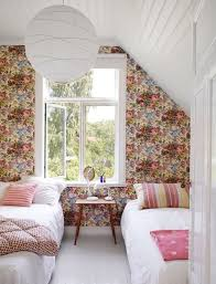 lovely accent office interiors 3 bedroom. attic bedroom accent wall with floral paper idhalindhag via atticmag lovely office interiors 3 e
