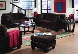 Velvet Living Room Furniture Chocolate Brown Velvet Living Room With Dark Bycast Base
