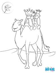 The three kings on a camel coloring pages - Hellokids.com