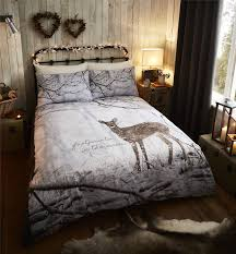 Woodland Deer Duvet Quilt Cover Set, Bed Linen Single Double King ... & Woodland-Deer-Duvet-Quilt-Cover-Set-Bed-Linen- Adamdwight.com
