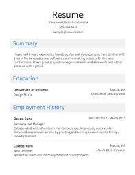 Simple Job Resume Outline