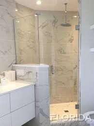 3 8 frameless glass to wall hinge shower enclosure panels secured with u channel