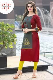 Designer Kurtis Surat Gujarat Siya Fashion Maroon Grey Rayon Kurti Kurti Neck Designs