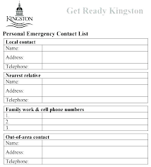 employer emergency contact form template emergency contact card template