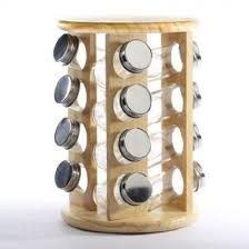 Small Picture Swivel Style Light Wood Spice Rack with 16 Spice Jars for Home