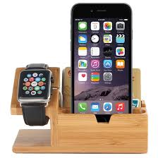 bamboo wooden desk stand 3x usb charger hub apple watch iphone