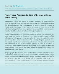 Twenty Love Poems and a Song of Despair Analysis Essay Example