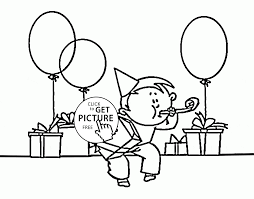 Small Picture Funny Boy and Birthday present and Balloons coloring page for kids