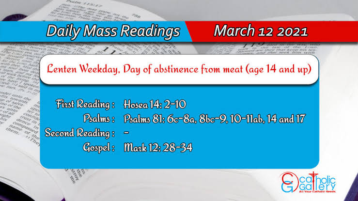 Catholic Daily Mass Reading 12th March 2021 Online Today