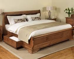 Elegant Sled Bed Frame Delivered Bedroom Sleigh Platform Queen Size ...