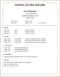 Free Actor Resume Template Inspiration Gallery Of Acting Resume Template 24 Acting Resume Template For