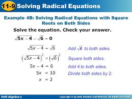 example 4b solving radical equations with square roots on both sides