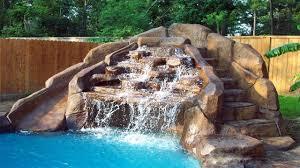 awesome swimming pool rock slide waterfall 2