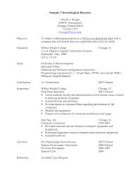 Chronological Resume Format Resume Work Template