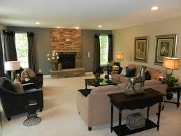 ... Luxurious Family Room in Basement with Grey and Earthy Color Paints ...