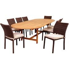 Teak Oval Dining Table Amazonia Noah 8 Person Resin Wicker Patio Dining Set With Teak