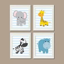 jungle nursery wall art elephant giraffe zebra hippo set of 4 prints zoo safari animals baby on elephant and giraffe nursery wall art with jungle nursery wall art elephant giraffe por lovelyfacedesigns