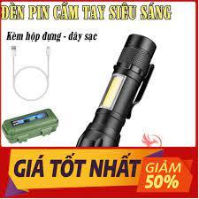 Đèn pin siêu sáng mini bin sạc điện usb bóng led xpe cob có zoom chống nước  cầm tay chuyên dụng