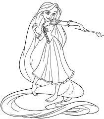 Principessa Rapunzel Che Dipinge Da Colorare Disegno Da Stampare Con