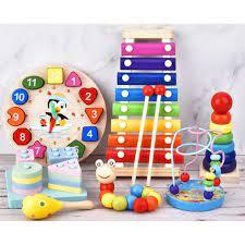 Combo 7 món đồ chơi cho bé phát triển trí tuệ (Đàn gỗ, tháp gỗ, luồn hạt,  sâu gỗ, đồng hồ gỗ, thả hình 4 trụ, lục lạc tròn ) - Xếp