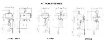 hitachi electric chain hoists lifting equipment hitachi s series dimensions