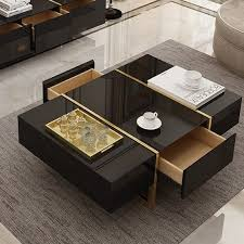 black coffee table with drawers table