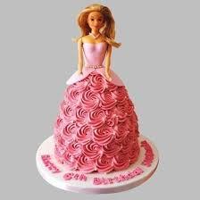 Flamboyant Barbie Cake Vanilla Online Cake Delivery Birthday