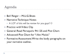 Agenda Bell Ringer M U G Shots Narrative Technique Notes