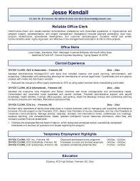 Office Clerk Resume Examples Professional Resume Templates