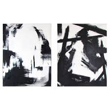large black and white oil on canvas abstract paintings by guillermo calles for