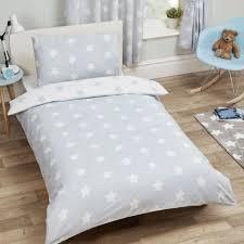 grey and white stars single duvet cover set childrens kids bedding reversible
