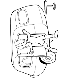 Camper Coloring Page Guy With Camper Trailer
