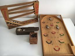 Wooden Game With Marbles Lot of old Dutch toys marble game dominoes and wooden marble run 59