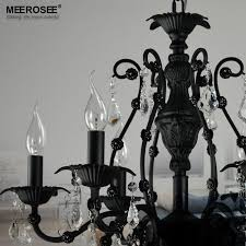 vintage black crystal chandelier light fixture 6 lights american wrought iron chandelier suspension hanging light