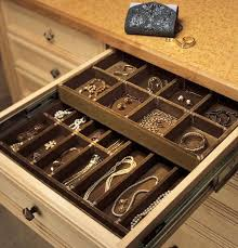 ... Drawer design, Light Brown Rectangle Modern Wooden Jewelry Drawer  Organizer With Golden And Pearl Design ...