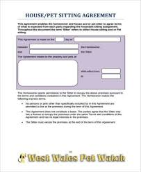 Pet Sitter Information Form Free 9 Sample Pet Agreement Forms Pdf