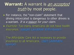key characteristics of an argument essay ppt  5 warrant