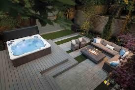 hot tub patio landscape