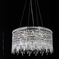 picture of 16 bossolo transitional crystal round pendant chandelier polished chrome 5 lights