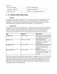 Chemistry Gas Laws Lab Chem 112 Queensu Studocu