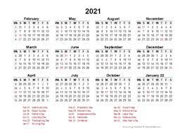 The year 2021 is a common year, with 365 days in total. Printable 2021 Accounting Calendar Templates Calendarlabs