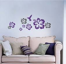 Small Picture Hummingbirds And Flowers Decals Hibiscus Vinyl Wall Sticker